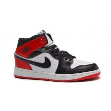 NIKE AIR JORDAN RETRO 1 MID BLACK WHITE HIGH OG (ЧЕРНЫЕ С КРАСНЫМ)